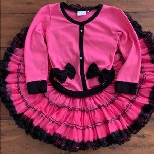 Ooh! La La!  Couture Pink & Black Bow Dress Size 8